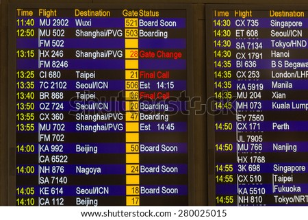 HONG KONG - APR 30, 2015: Electronic display in Hong Kong International Airport shows gate change of flight to Shanghai. About 90 airlines operate flights from HKIA to over 150 cities across globe. - stock photo