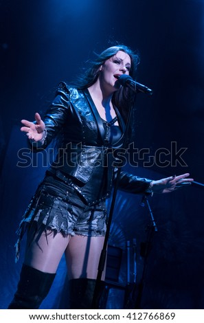 HONG KONG - April 17, 2016 Nightwish show, Vocalist Floor Jansen performed on stage