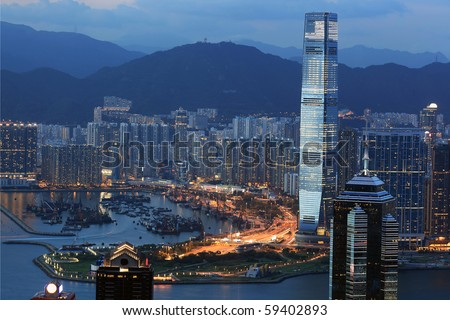 Hong Kong at dusk, beautiful scenery - stock photo