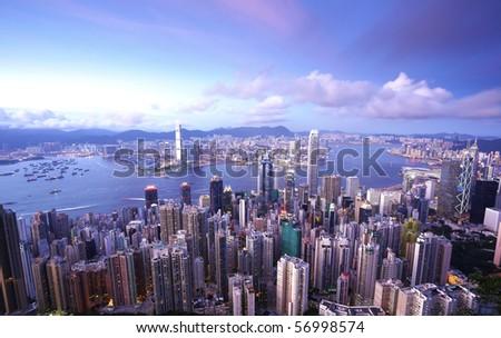Hong Kong at evening - stock photo