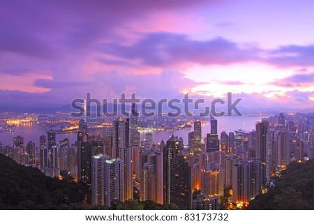 Hong Kong at morning sunrise - stock photo