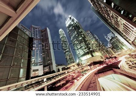 Hong Kong at night - stock photo