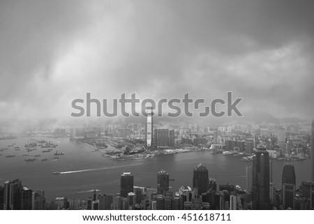 Hong Kong at night Victoria peak view. - stock photo