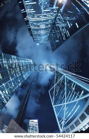Hong Kong at night, view from below. - stock photo