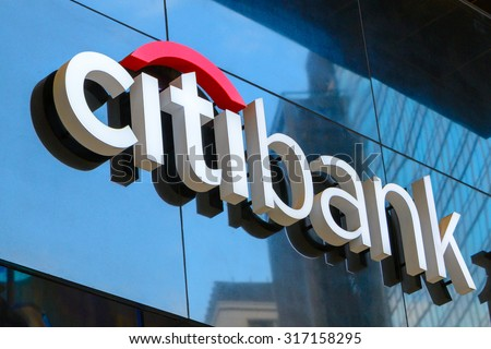 HONG KONG - AUG 11, 2015: Citibank sign installed outdoor. Citibank is a banking division of financial services multinational Citigroup, founded in in 1812 as the City Bank of New York. - stock photo