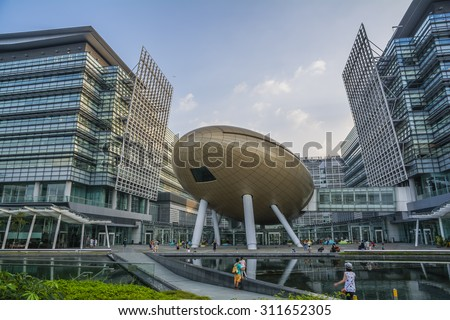 HONG KONG - AUG 23 : Hong Kong Science Park.In addition to offices and conference and exhibition venues, a number of food and beverage outlets within the park and a beautifully landscaped manmade lake