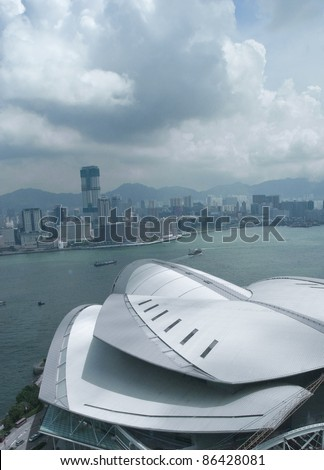 HONG KONG-AUGUST 24:Hong Kong Convention and Exhibition Centre (HKCEC, foreground) in Hong Kong on August 24, 2007. The original building was built on reclaimed land off Gloucester Road in 1988. - stock photo