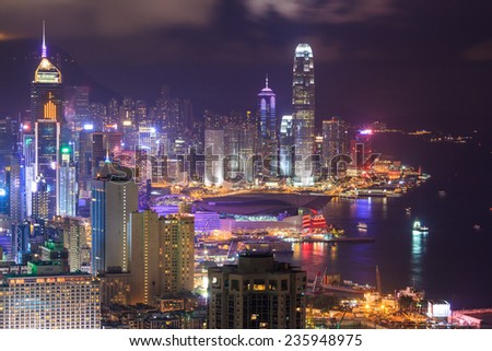 HONG KONG -AUGUST 09: Night Scene of the Victoria Harbour on August 09, 2014 in Hong Kong. Victoria Harbour is the famous attraction place for tourist to visit