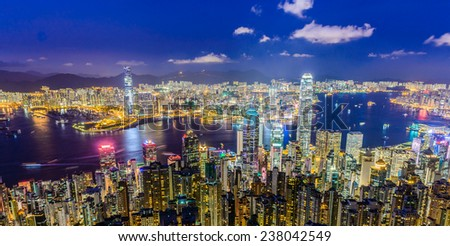 HONG KONG -August 8: Scene of the Victoria Harbour on August 8, 2014 in Hong Kong. Victoria Harbour is the famous attraction place for tourist to visit. - stock photo