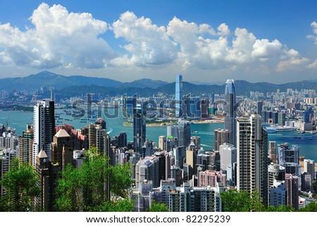 Hong Kong bay in twilight - stock photo