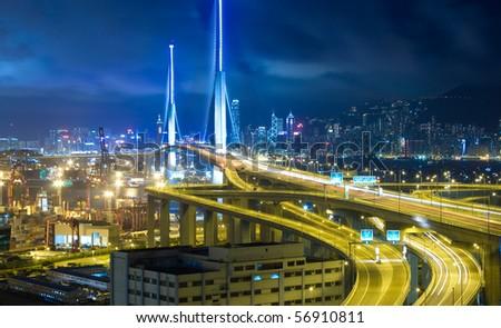 Hong Kong Bridge of transportation at night - stock photo