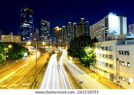 hong kong busy traffic night - stock photo