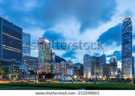 Hong Kong central district night scene - stock photo