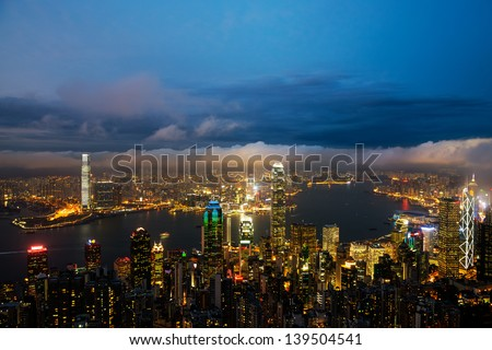 Hong Kong central district skyline and Victoria Harbour view at night