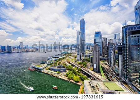 Hong Kong Central finance downtown - stock photo