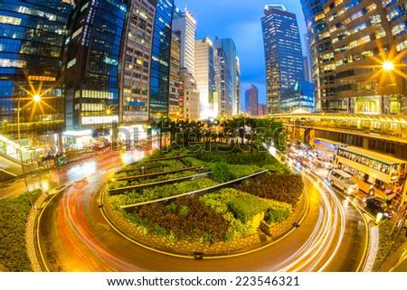 Hong Kong Central Skyline at dusk (Fish Eye Perspective) - stock photo