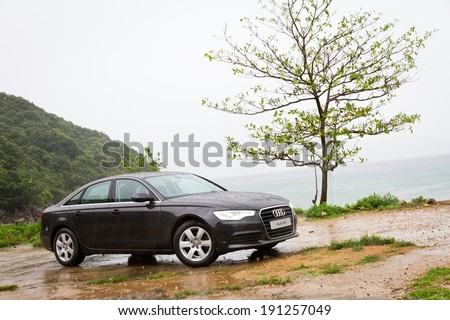 Hong Kong, China April 30, 2013 : Audi A6 Sedan Car test drive on April 30 2013 in Hong Kong. - stock photo