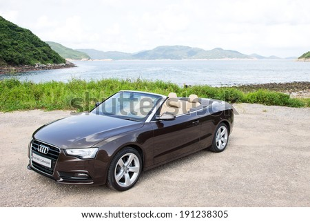 Hong Kong, China AUG 31, 2012 : Audi A5 Cabriolet test drive on AUG 31 2012 in Hong Kong. - stock photo