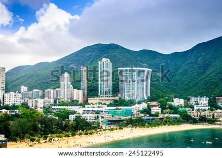 Hong Kong, China beachfront skyline at Repulse Bay. - stock photo