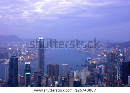 HONG KONG,CHINA - DEC.30:Hong kong International Finance Centre 2,IFC 2 (415.8 m) on Dec.30, 2012. Hong Kong's tallest buildings and famous landmarks ,completed in 2003.