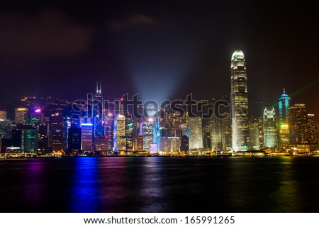 HONG KONG, CHINA - DEC 05: Victoria Harbor in Hong Kong on Dec 05, 2013. The Victoria Harbor is world-famous for its stunning panoramic night view and skyline.  - stock photo