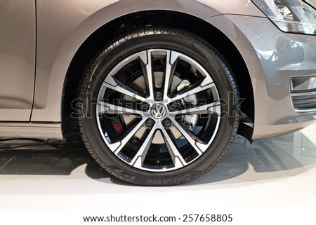 Hong Kong, China Dec 16, 2014 : Volkswagen Golf 2014 Limited Edition 2014 Wheel 4 on Dec 16 2014 in Hong Kong.