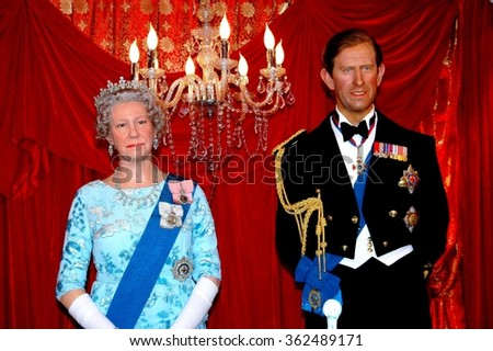 Hong Kong, China - December 15, 2005:  Madame Tussaud's Museum wax figures of Britain's Queen Elizabeth and Prince Charles on display at Santa's Village in Chater Park