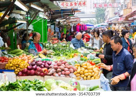 HONG KONG, CHINA - DECEMBER 14: Temple street in Hong Kong, China on December 14, 2015 Yau Ma Tei is the  flea market located in the areas of Jordan and Yau Ma Tei in Kowloon - stock photo