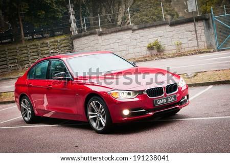 Hong Kong, China Feb 15, 2012 : BMW 335i test drive on Feb 15 2012 in Hong Kong. - stock photo