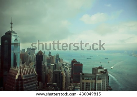 HONG KONG, CHINA - FEB 12: Cityscape of Hong Kong at sunset on February 12, 2016. There are 1,223 skyscrapers in Hong Kong. - stock photo