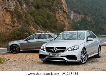 Hong Kong, China Feb 20, 2013 : Mercedes-Benz E-Class test drive on Feb 20 2013 in Hong Kong. - stock photo
