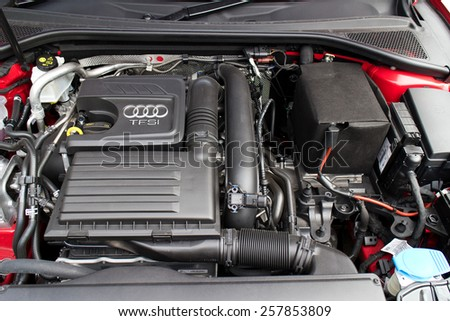 Hong Kong, China Jan 28, 2015 : Audi Q3 Sedan 1.4 Ultra 2015 engine on Jan 28 2015 in Hong Kong. - stock photo