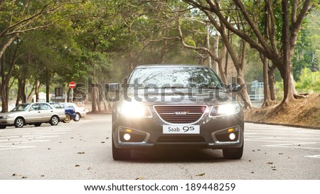 Hong Kong, China Jan 27 2011 : SAAB 95 2011  test drive in Hong Kong on Jan 25 2011. - stock photo