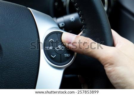 Hong Kong, China Jan 28, 2015 : Toyota Prius C 2015 wheel button on Jan 28 2015 in Hong Kong. - stock photo
