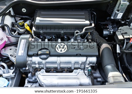 Hong Kong, China Jan 3, 2014 : Volkswagen Polo 2014 Model engine on March 3 2014 in Hong Kong. - stock photo