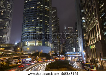 Hong Kong, China. January 15 2017. The traffic in the city roads by night