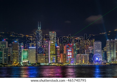 Hong Kong, China - July 2nd 2016 -The colourful skyline of Hong Kong in a summer night in China, Asia.