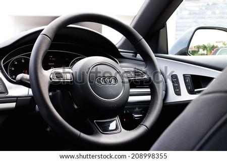 Hong Kong, China Jun 21, 2014 : Audi A7 Sportback Black Edition 2014 test drive on Jun 21 2014 in Hong Kong. - stock photo
