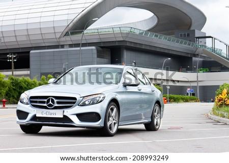 Hong Kong, China Jun 17, 2014 : Mercedes-Benz C 250 AMG 2014 test drive on Jun 17 2014 in Hong Kong. - stock photo