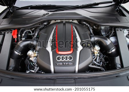 Hong Kong, China June 6, 2014 : Audi S8 engine room on June 6 2014 in Hong Kong. - stock photo
