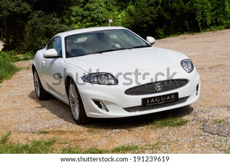 Hong Kong, China June 19, 2012 : Jaguar XK test drive on June 19 2012 in Hong Kong. - stock photo