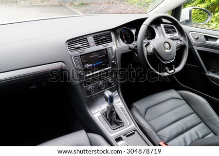 Hong Kong, China March 27 2015 : Volkswagen e-Golf 2015 Interior on March 27 2015 in Hong Kong.