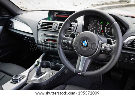 Hong Kong, China May 15, 2014 : BMW M235i interior on May 15 2014 in Hong Kong. - stock photo