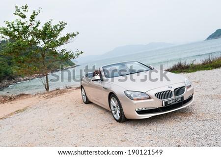Hong Kong, China NOV 16, 2011 : BMW 650i Convertible test drive on NOV 16 2011 in Hong Kong. - stock photo