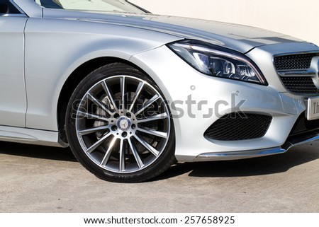 Hong Kong, China Nov 18, 2014 : Mercedes-Benz CLS 400 2014 wheel on Nov 18 2014 in Hong Kong. - stock photo