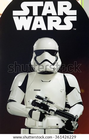 HONG KONG, CHINA - NOVEMBER 26, 2015: Star Wars advertising poster inside Commercial Center. Star Wars is an American epic space opera franchise centered on a film series created by George Lucas. - stock photo