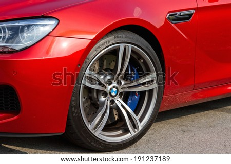 Hong Kong, China OCT 22, 2012 : BMW M6 Coupe Front Wheel on OCT 22 2012 in Hong Kong. - stock photo