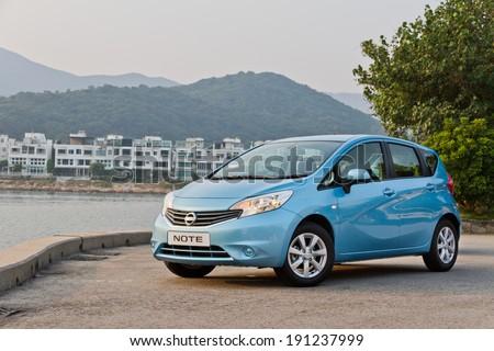 Hong Kong, China OCT 10, 2012 : Nissan Note test drive on OCT 10 2012 in Hong Kong. - stock photo