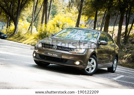 Hong Kong, China SEPT 14, 2011 : Volkswagen New Jetta test drive on  SEPT 14 2011 in Hong Kong. - stock photo
