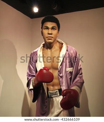 HONG KONG, CHINA - SEPTEMBER. 5, 2009: Muhammad Ali wax statue is on display at Madame Tussauds Museum of Hong Kong  - stock photo